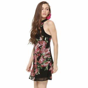 ASOS Fashion Union High Neck Black Floral Dress